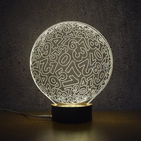 3D Visual Number Ball Shape Room Decor LED Night Light - WHITE