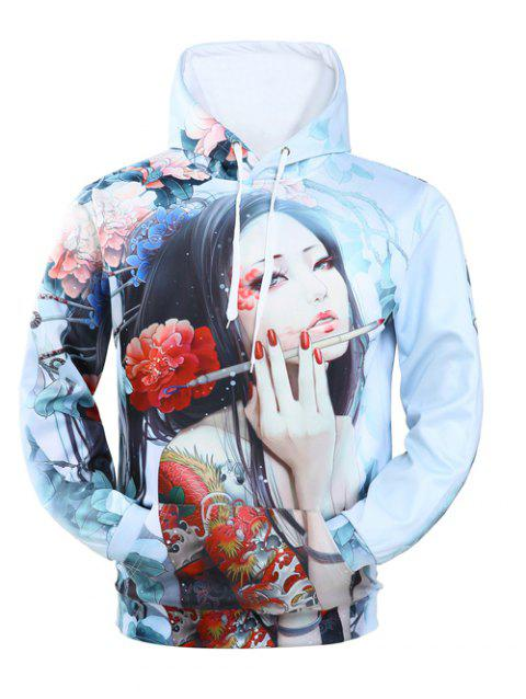 Hooded Long Sleeve 3D Classical Girl Print Hoodie - LIGHT BLUE M