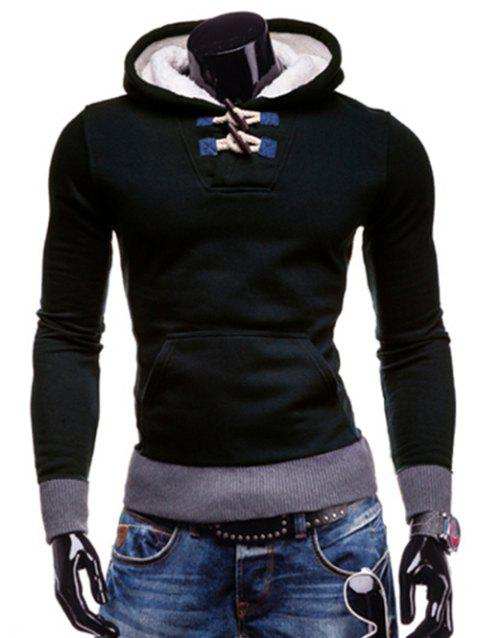 Slimming Hooded Trendy Horn Button Patched Splicing Long Sleeve Polyester Men's Hoodie - DEEP BLUE 2XL