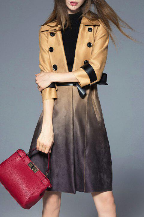 Ombre Skirted Wrap Coat - Kaki S