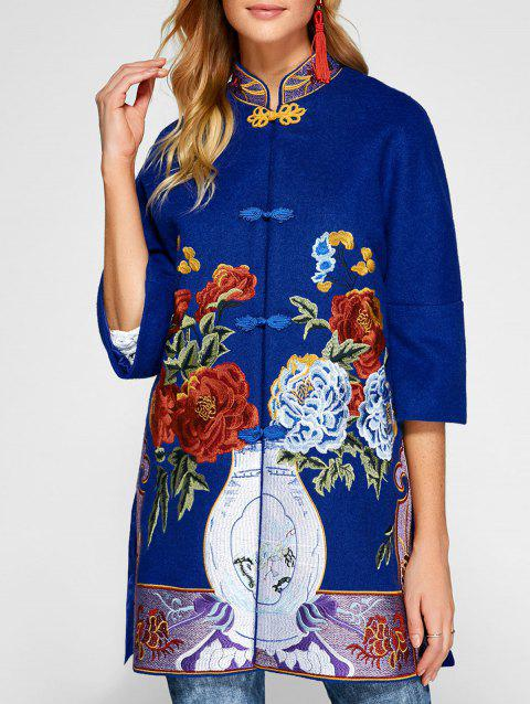 Chinese Style Embroidery Woolen Blend Coat - Bleu S