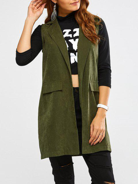 Lapel Open Front Waistcoat - ARMY GREEN M