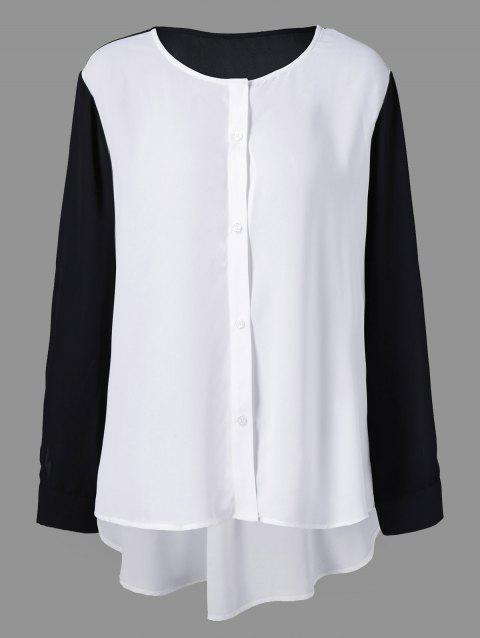 8c4d772db5f 41% OFF  2019 Plus Size High Low Button Down Blouse In WHITE BLACK ...