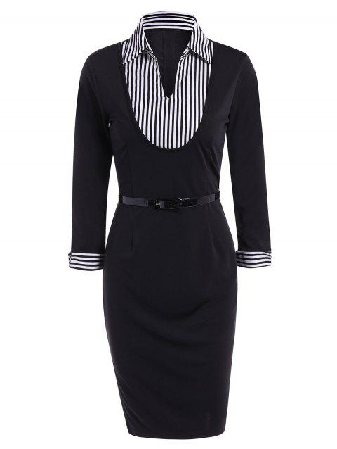 17 Off 2018 Shirt Collar Belted Pencil Dress In Black L