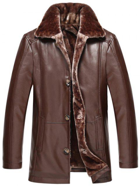 Collier Bouton en fausse fourrure Up PU Leather Jacket - brun foncé 3XL