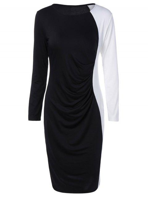 Color Block Panel Dress - WHITE/BLACK S