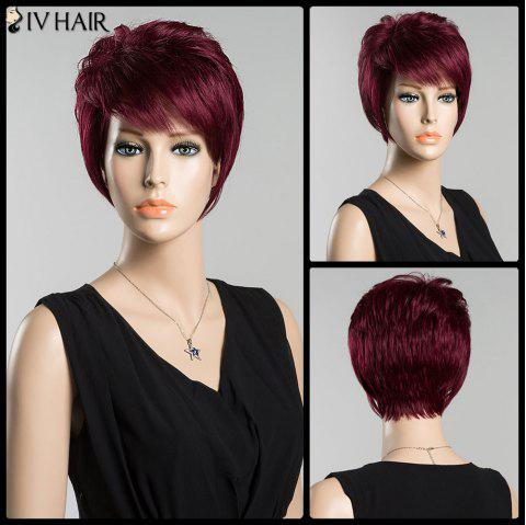 Short Side Bang Straight Bouffant Siv Human Hair Wig - BURGUNDY