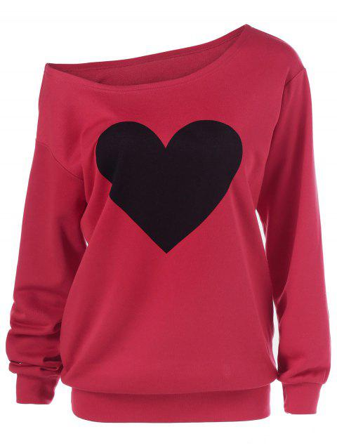 Heart Print Skew Collar Sweatshirt - RED L