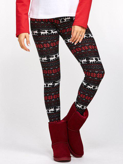 Fawn Snowflake Christmas Leggings - COLORMIX ONE SIZE