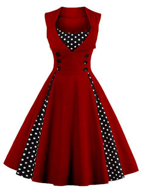 Midi Polka Dot Prom Rockabilly Swing Vintage Prom Dresses - WINE RED S
