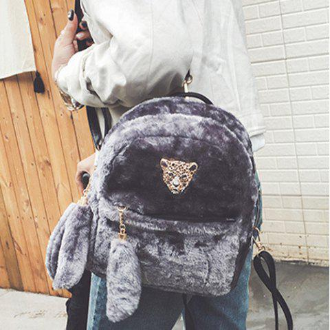 Metallic Embellished Faux Fur Backpack - GRAY