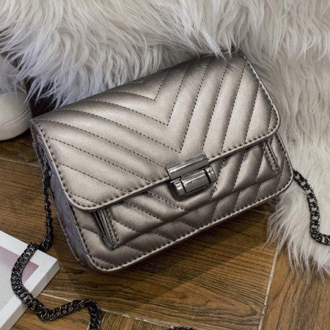 PU Leather Chains Quilted Crossbody bag - SILVER