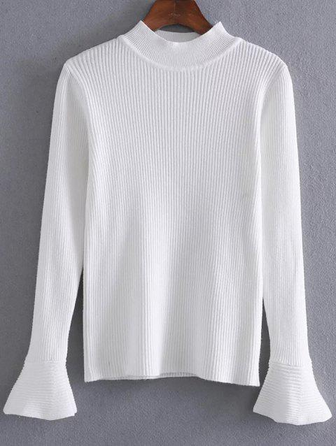High Neck Flare Sleeve Stretchy Knitwear - WHITE ONE SIZE