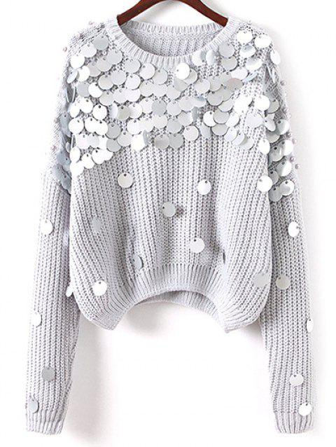Sequined Loose Chunky Sweater - GRAY ONE SIZE