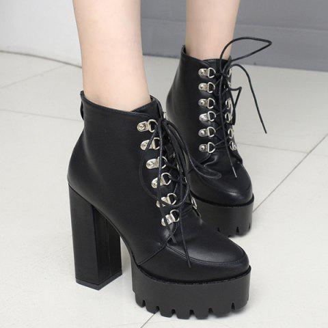9a973692ec 17% OFF] 2019 Punk Lace Up Platform Ankle Boots In BLACK | DressLily