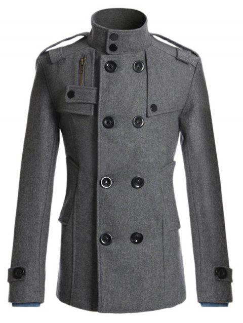 Manteau en laine mixte joint d'épaulette ,boutonnage double - DEEP GRAY XL