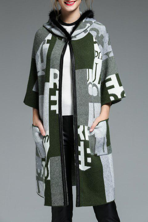 Hooded Graphic Wool Blend Coat - Vert ONE SIZE