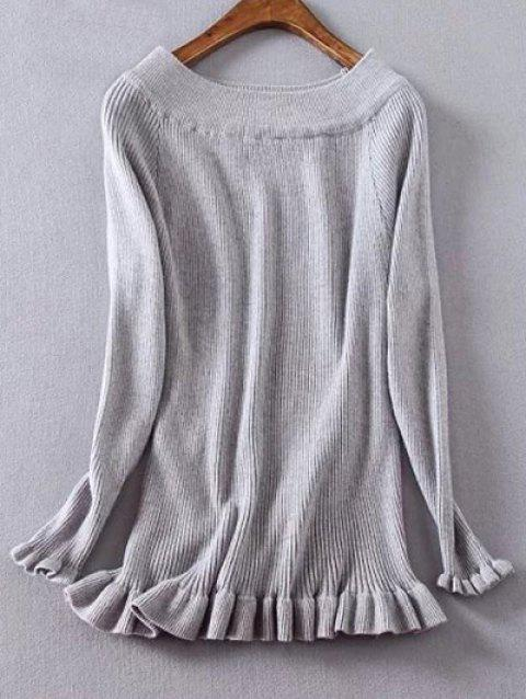 Frilled Ribbed Boat Neck Jumper - GRAY XL