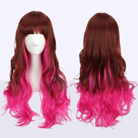 Long Fluffy Wavy Neat Bang Double Color Cosplay Synthetic Wig - COLORMIX