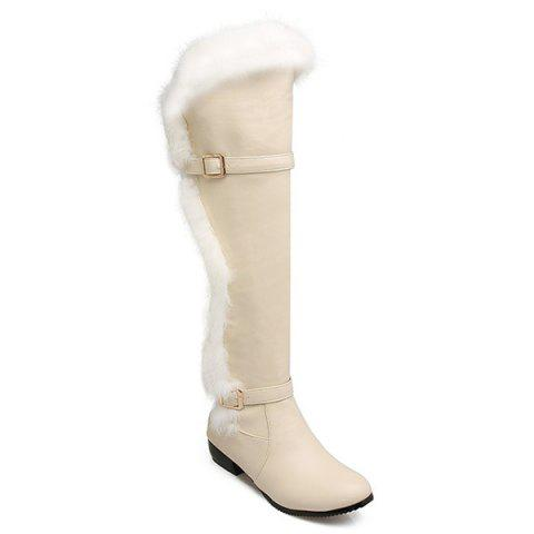 Double Buckle Flat Heel Thigh Boots - GLITTER CREAMY WHITE 37