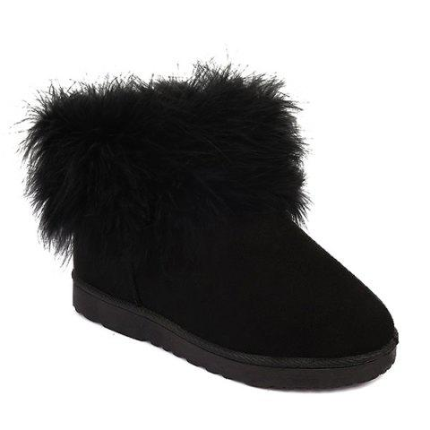 Furry Ankle Snow Boots - BLACK 37