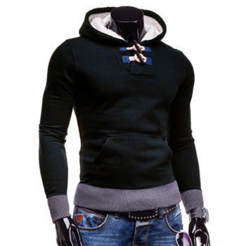Slimming Hooded Trendy Horn Button Patched Splicing Long Sleeve Polyester Men's Hoodie - DEEP BLUE M