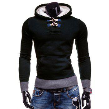 Slimming Hooded Trendy Horn Button Patched Splicing Long Sleeve Polyester Men's Hoodie