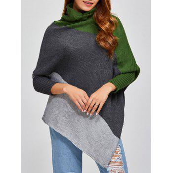 Color Block Asymmetric Pullover Cape Sweater