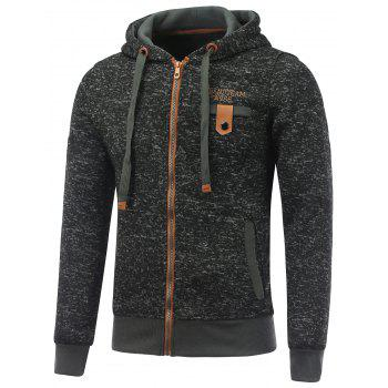 Letter Print Zipper Fly Fleece Hoodie