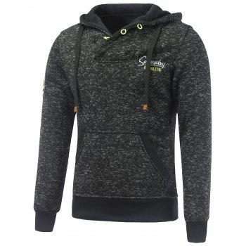 Pocket Button Appliqued Hoodie