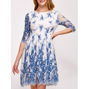 Buy Floral Embroidery Wave Cut Lace Swing Dress BLUE