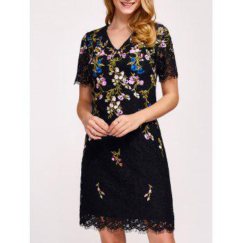 Flower Embroidered Wave Cut Sheath Lace Dress