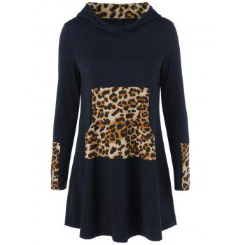 Leopard Kangaroo Pocket Hooded Dress