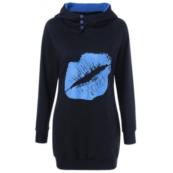 Lip Print Button Embellished Longline Hoodie