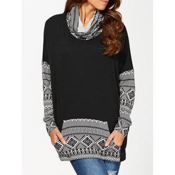 Cowl Neck Kangaroo Pocket Pullover - WHITE AND BLACK WHITE/BLACK