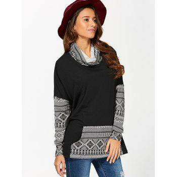 Cowl Neck Kangaroo Pocket Pullover - WHITE/BLACK WHITE/BLACK
