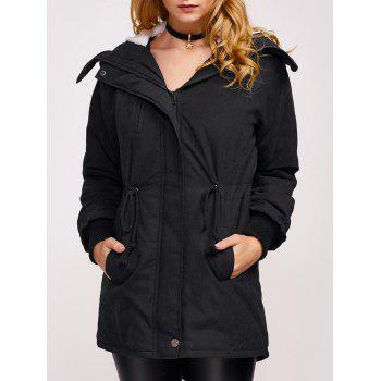 Fleece Hooded Parka Winter Padded Coat Jacket
