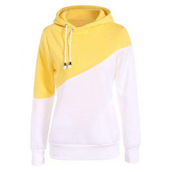 Drawstring Color Block Pullover Hoodie