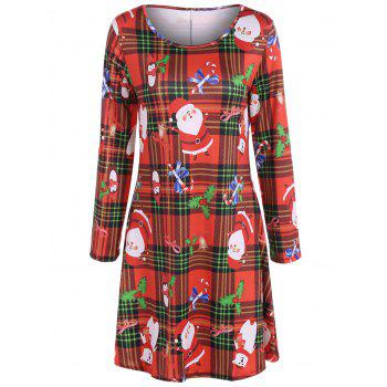 Christmas Santa Print Plaid Dress
