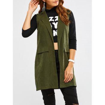 Lapel Open Front Waistcoat - ARMY GREEN S
