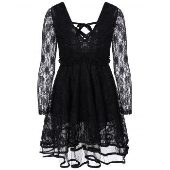 Criss-Cross Ribbon Plunging Lace Short Dress