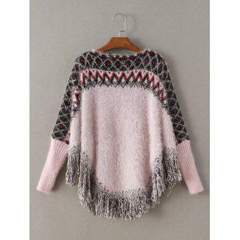 Asymétrique Fringe Argyle Pull Cape Sweater - ROSE PÂLE ONE SIZE