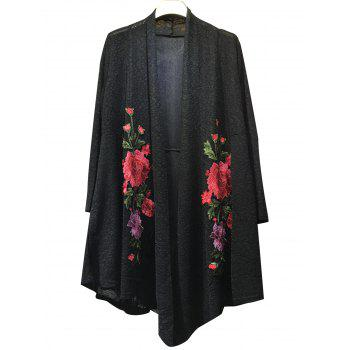 Floral Embroidered Knitted Kimono Cardigan