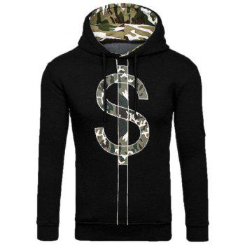 Dollar Symbol Print Camouflage Splicing Hoodie