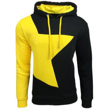 Buy Color Block Star Splicing Drawstring Hoodie BLACK