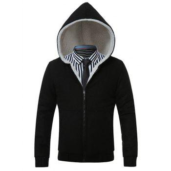 Hooded Thicken Flocking Zip Up Hoodie