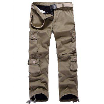 Plus Size Zipper Fly Pockets Flocking Cargo Pants