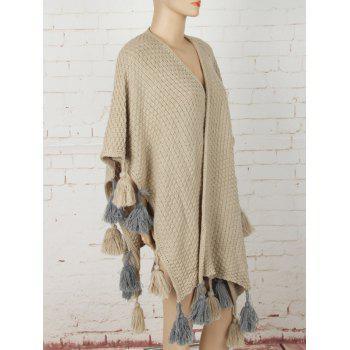 Asymétrique Glands Sweater Cape - Kaki ONE SIZE