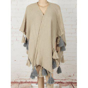 Asymmetric Tassels Sweater Cape