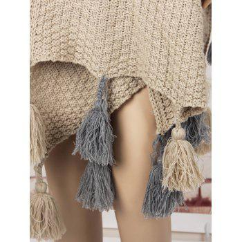 Asymmetric Tassels Sweater Cape - KHAKI KHAKI
